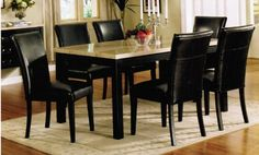 7pc Parson Dining Set with Faux Marble Top in Black Finish by Acme $797.79