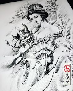 I totally appreciate the colours, outlines, and linework. This is definitely an incredible layout if you are looking for a Japanese Drawings, Japanese Tattoo Art, Japanese Tattoo Designs, Geisha Drawing, Geisha Art, Demon Tattoo, Samurai Tattoo, Vintage Mermaid, Mermaid Art