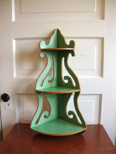 Incredible Vintage 40s Wooden Corner Shelf Mint Green 3 Tier Ornate Design Home…