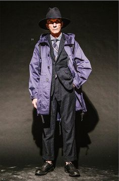 Engineered Garments AW14 Look, great suit and Parka combination matching up with the tie and etc. The hat looks great!