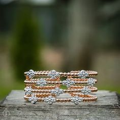 Rose Gold Bangle with Diamond Flowers