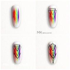 winter nail art which look stunning. Aztec Nails, Chevron Nails, Nagellack Design, Lines On Nails, Geometric Nail, Acrylic Nail Art, Nagel Gel, Beautiful Nail Art, Nail Tutorials