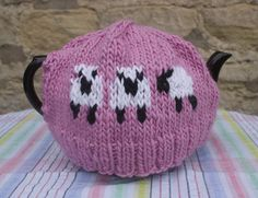 Pink Sheep Tea Cosy Cozy - handmade medium size.