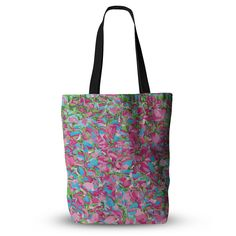 """Empire Ruhl """"Abstract Spring Petals"""" Pink Teal Everything Tote Bag"""