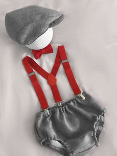 Light Grey and red Baby boy 1st Birthday Outfit...Cake Smash Outfit...Baby photo shoot outfit...Vintage paperboy by BuBBlingBoutique on Etsy