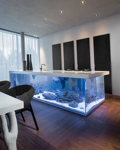 From the world of Kitchens Beyond Our Means comes today's exhibit: a crazy, crazy kitchen island that is so much more than an island. In fact, it contains the sea itself.