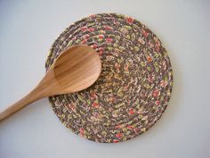 FABRIC COIL TRIVET  Taupe Coral Trivet  Handmade by Jambearies