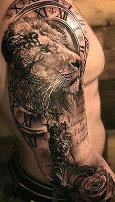 Tiger Tattoo Sleeve, Realistic Tattoo Sleeve, Lion Tattoo Sleeves, Temporary Tattoo Sleeves, Best Sleeve Tattoos, Tattoo Sleeve Designs, Tattoo Designs Men, Lion Forearm Tattoos, Lion Head Tattoos