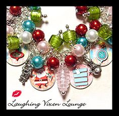 Retro Christmas Charm Bracelet or Necklace *Available in Bracelet, Necklace or Bracelet with Necklace Extender Chain. See matching necklace, Retro Christmas, Vintage Holiday, Handmade Christmas, Christmas Things, Christmas Items, Charm Jewelry, Charm Bracelets, Fashion Bracelets, Fashion Jewelry