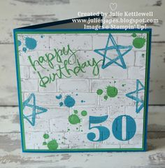 50th Birthday Card by Julie Kettlewell Independent Stampin Up Demonstrator. #birthdaycard #stampinup #malecards50th Birthday Card