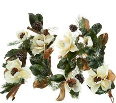 6' Iced Magnolia and Pinecone Garland by Valerie - H211511