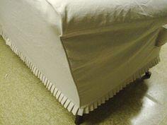 Drop Cloth Slipcover pleated detail - Bella Slipcovers, Custom Sewing & Design Studio