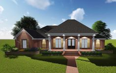 Attractive Acadian with Grand Rear Porch - 83878JW | 1st Floor Master Suite, Acadian, Butler Walk-in Pantry, CAD Available, Corner Lot, Den-Office-Library-Study, European, French Country, MBR Sitting Area, PDF, Southern | Architectural Designs