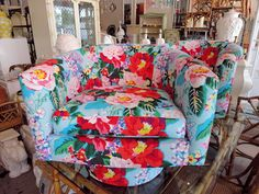 CIRCA WHO re-do!  A pair of MILO style swivel chairs with CARLETON VARNEY fabric:)