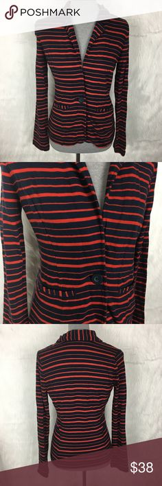 """Caslon Striped Red & Navy Blue Blazer caslon (nordstrom) nautical stripe blazer. red and blue. one button closure. cotton stretchy fabric. so cute and comfortable! high quality.  size: small (4-6) measurements: bust 19"""" / waist 15.5"""" / length 23"""" / sleeve inseam 19"""" fabric content: 100% cotton  washing instructions: hand wash flaws: none mannequin's measurements: 32-26-35 discounts: 10% off bundles of 2 items and 15% off bundles of 3+ items inventory box S Caslon Jackets & Coats Blazers"""
