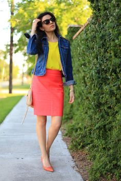 Classic Denim Jacket w/ pencil skirt & tucked in top (note that bright top & skirt add visual interest to a very basic outfit)