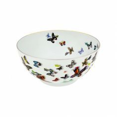 """Butterfly Parade Salad Bowl (gift box) by Christian Lacroix   A garden of real and imaginary butterflies flying over the pieces, with notable three-dimensional effects. One of the four decorations of the Christian Lacroix collection that represents the """"""""mix and match"""""""" of the Christian Lacroix brand, allowing the sophisticated mixing of styles and shapes. #Bowl #Salad #Serveware #Vintage www.vintagemaya.com"""