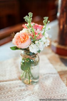 Nashville, Tennessee Country Wedding | Pink and Peach Flowers by Enchanted Florist, Photo by Kristin Vanzant Photography