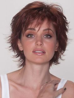 Description Discontinued A short hair Sassy Cut Classic Collection Synthetic Wig by Belle Tress has it together. This wispy layers and flicked tips wig offers a timeless look worn smooth or shaken and… Choppy Hair, Short Curly Hair, Curly Hair Styles, Short Shag Hairstyles, Haircuts For Fine Hair, Razor Cut Hairstyles, Sassy Haircuts, Pixie Haircuts, Medium Hairstyles