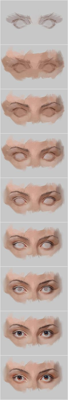 70 ideas eye drawing tutorial step by step digital paintings Digital Painting Tutorials, Digital Art Tutorial, Art Tutorials, Drawing Tutorials, Digital Paintings, Oil Paintings, Painting Process, Painting & Drawing, Matte Painting