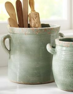 Rhodes Ceramic Crock, Medium At Pottery Barn - Tabletop - Organization & Food Storage Mint pottery Source by Home Decor Styles, Home Decor Accessories, Decorative Accessories, Kitchen Accessories, Home Decor Kitchen, Rustic Kitchen, Diy Home Decor, Decor Crafts, Green Kitchen Decor