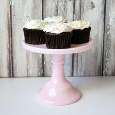 "6"" Pink Milk Glass Pedestal Cake Stand shoptomkat.com #cakestand #cupcakes"