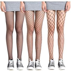 FAYBOX 3 Pack Fishnet Stockings Hollow Stretchy Tights Seamless Sexy Net Pantyhose Women Net Design >>> Be sure to check out this awesome product. (This is an affiliate link) Teen Fashion Outfits, Edgy Outfits, Grunge Outfits, Cute Outfits, Fishnet Stockings, Fishnet Tights, In Pantyhose, Fish Net Tights Outfit, Fishnet Outfit