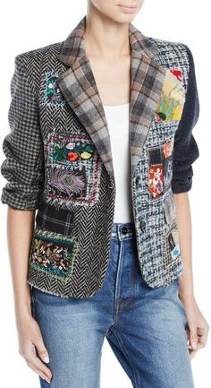 Libertine Multimedia Tweed Patchwork Blazer – The Best Ideas Diy Fashion, Vintage Fashion, Fashion Ideas, Mode Boho, Altered Couture, Vintage Mode, Vintage Diy, Tweed Blazer, Refashion