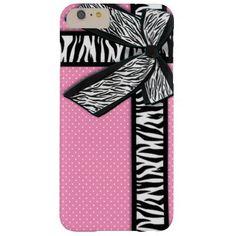 Girly zebra ribbon & bow, pink polka dots barely there iPhone 6 plus case #PinkAndBlackObsession