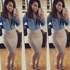 37 Most Fashionable Outfit Ideas Plus Size Women's Leith High Side Slit Pencil Skirt ideas for women in ideas for women over 40 casual Classy Outfits, Chic Outfits, Fall Outfits, Fashion Outfits, Skirt Fashion, Fashion Shirts, Night Outfits, Fashion Tips, Fashion Trends