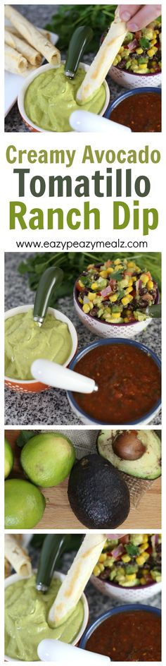 This creamy avocado tomatillo ranch dip is super east to make. Just a ...