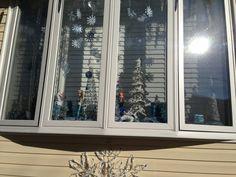 My holiday window Frozen decor