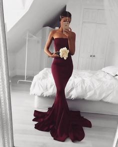 2017 Sexy Strapless Burgundy Mermaid Long Prom Dress Formal Evening Dress