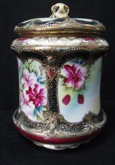 Antique 1880s Nippon Porcelain Tea Biscuit Jar Container Lid Beading Maple Leaf | eBay