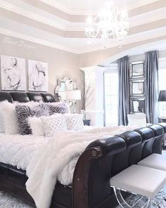 The Chic Technique:  Gorgeous bedroom with furry texture in silver and black by @blountdesign