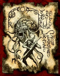 Items similar to KINGS OF ATLANTIS cthulhu larp Necronomicon Fragment lovecraft monster art on Etsy Hp Lovecraft, Lovecraft Cthulhu, Lovecraftian Horror, Dark Artwork, Occult Art, Call Of Cthulhu, Demonology, Necromancer, Arte Horror