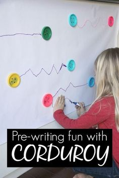 Pre-Writing Fun Inspired by Corduroy (Toddler Approved! Writing Center Preschool, Writing Activities For Preschoolers, Creative Curriculum Preschool, Writing Area, Pre K Activities, Preschool Literacy, Preschool Books, Pre Writing, Preschool Lessons