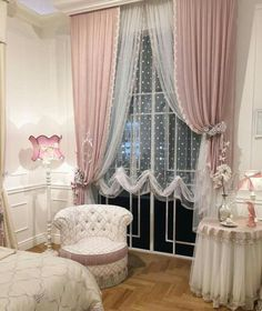 New Bedroom Design Chic Cozy Decor Ideas Elegant Curtains, Shabby Chic Curtains, Home Curtains, Shabby Chic Bedrooms, Shabby Chic Homes, Trendy Bedroom, Shabby Chic Decor, Girls Bedroom, Bedroom Decor