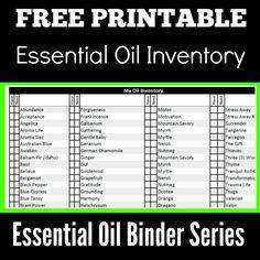 Young Living Essential Oils, Oils Inventory, Binder Inventory, Free Printables, Essential Oil Binders,