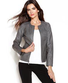 Alfani Faux-Leather Perforated Jacket