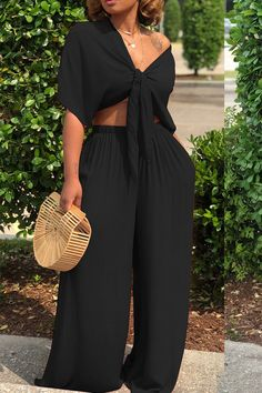Shyfull Casual Deep V Neck Loose Dark Blue Two-piece Pants Set Classy Outfits, Chic Outfits, Summer Outfits, Fashion Outfits, Pool Party Outfits, Ladies Outfits, Travel Outfits, Fashion Clothes, Trendy Outfits