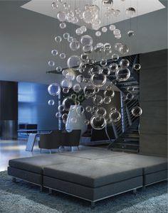 Grand lustre en bulles de verre