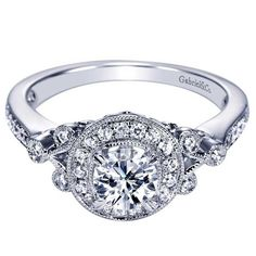 Gabriel & Co. Halo Engagement Ring with Diamond Pave and Bezel Set Diamonds #justicejewelers #gabrielandco
