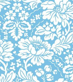 Jennifer Paganelli Quilt Fabric- Blue & White Floral