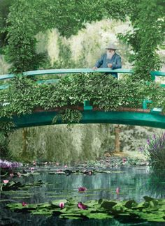 Claude Monet (1840 - 1926) in his Garden in Giverny by Etienne Clementel.  Autochrome, 1919