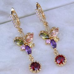 Love Monologue Vintage Multicolor Butterfly Imitation Peridot/Morganite/Crystal Yellow Gold Color Drop Earrings J0153 #Affiliate