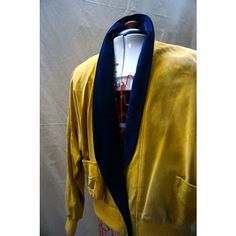 SUEDE bomber JACKET vintage, mustard colour1980's soft leather style CANADIAN Medium/Large (79 CAD) found on Polyvore