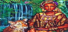 Garden of Modjadji by Lisa Iris. This Full Moon is ruled by Mujaji, African rain and warrior queen. Orisha, African Mythology, African Goddess, Online Image Editor, Card Reading, Free Reading, Illustrations, Oracle Cards, Queen