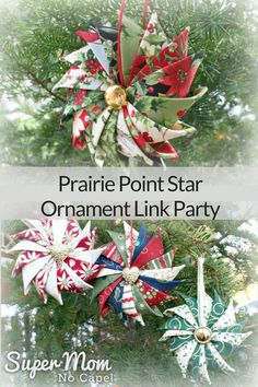 Have you made a Prairie Point Star Ornament from Super Mom - No Cape's tutorial? Click thru to add it to the Prairie Point Star Ornament Link Party! Christmas Projects, Holiday Crafts, Christmas Holidays, Christmas Wreaths, Christmas Decorations, Christmas Ideas, Holiday Tree, Homemade Christmas, Holiday Ideas