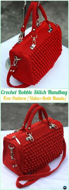 Crochet Purses Crochet Bobble Stitch Handbag Free Pattern [Video] - Make a bright-hued statement accessory that's perfect for spring - Crochet Bobble, Free Crochet Bag, Crochet Shell Stitch, Bobble Stitch, Crochet Tote, Crochet Handbags, Crochet Purses, Free Crochet Purse Patterns, Crochet Stitches